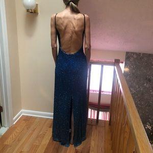 Cache Dresses - Beaded blue hombre gown